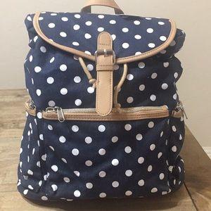 Large Blue & White Canvas Polka Dot Backpack